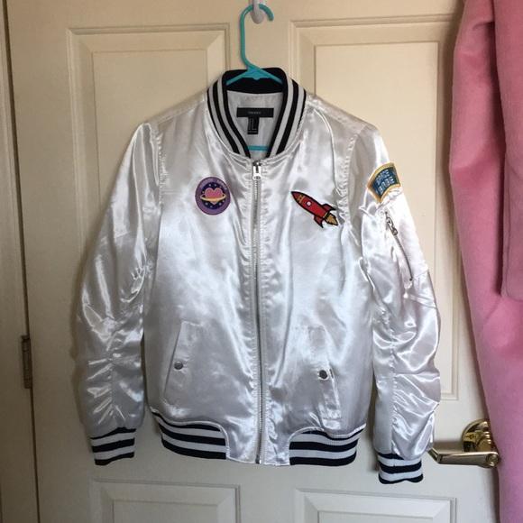 Forever 21 Jackets & Blazers - Space Bomber Jacket // White Satin